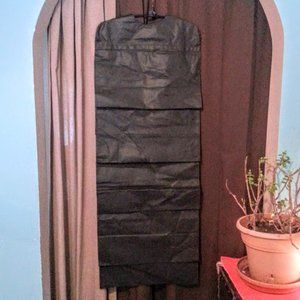 6 black hanging storage for shoes, bags, towels